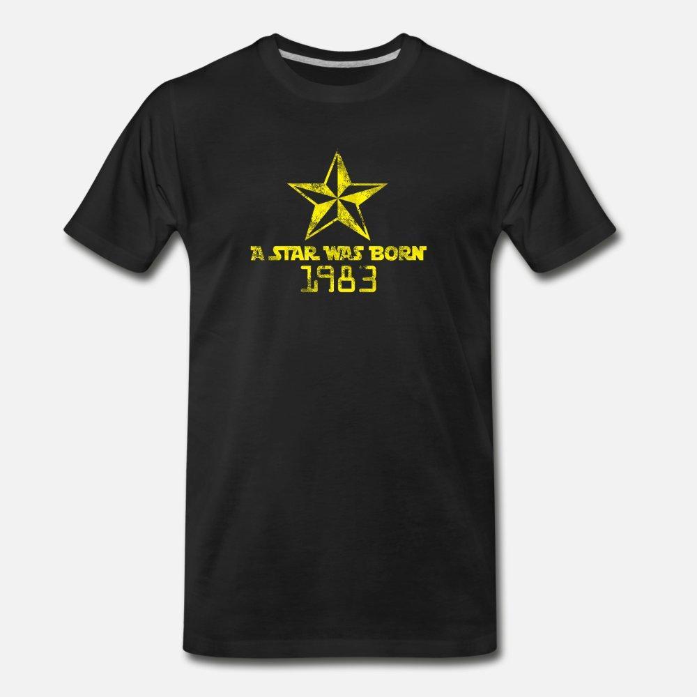 Une étoile est née 1983 t shirt homme Impression 100% coton O-Neck Costume drôle mignon été décontracté chemise mince
