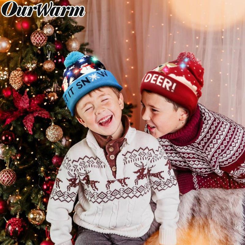 OurWarm LED Knitted Christmas Hat Kids Adults Light Up LED Beanie Christmas Hat Santa New Knitted Ugly Decoration