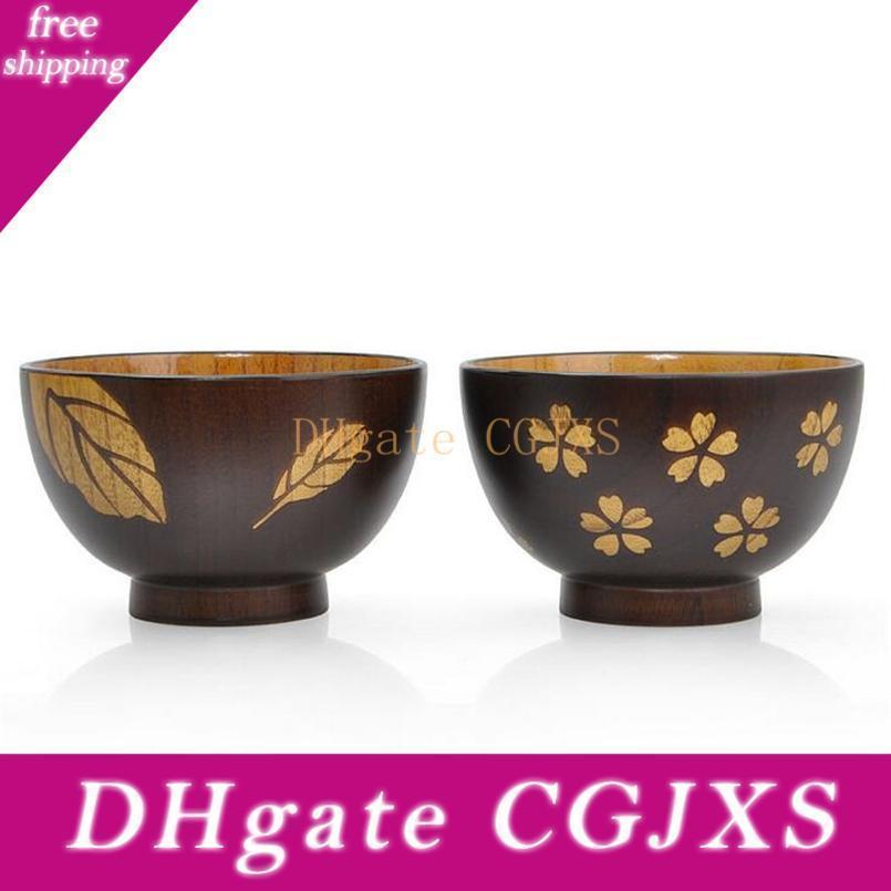 Fatto a mano di stile giapponese ciotola di legno delicato Sakura Foglie Figura Noodle Rice Bowl Zizyphus giuggiola legno Soup Bowl Nizza Lover articoli per la tavola