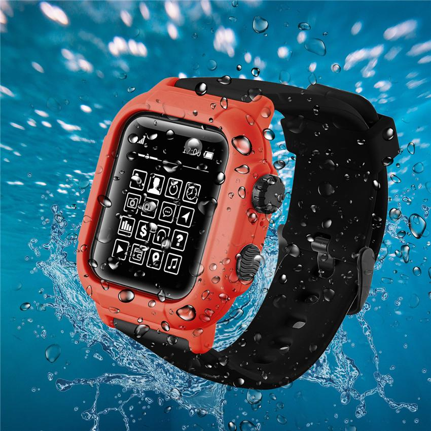 Full Protection Waterproof Cover Cases for Apple Watch Series 5 4 3 2 1 for iWatch 42mm 44mm 38mm 40mm Cover Silicone Strap Sport Band Cover