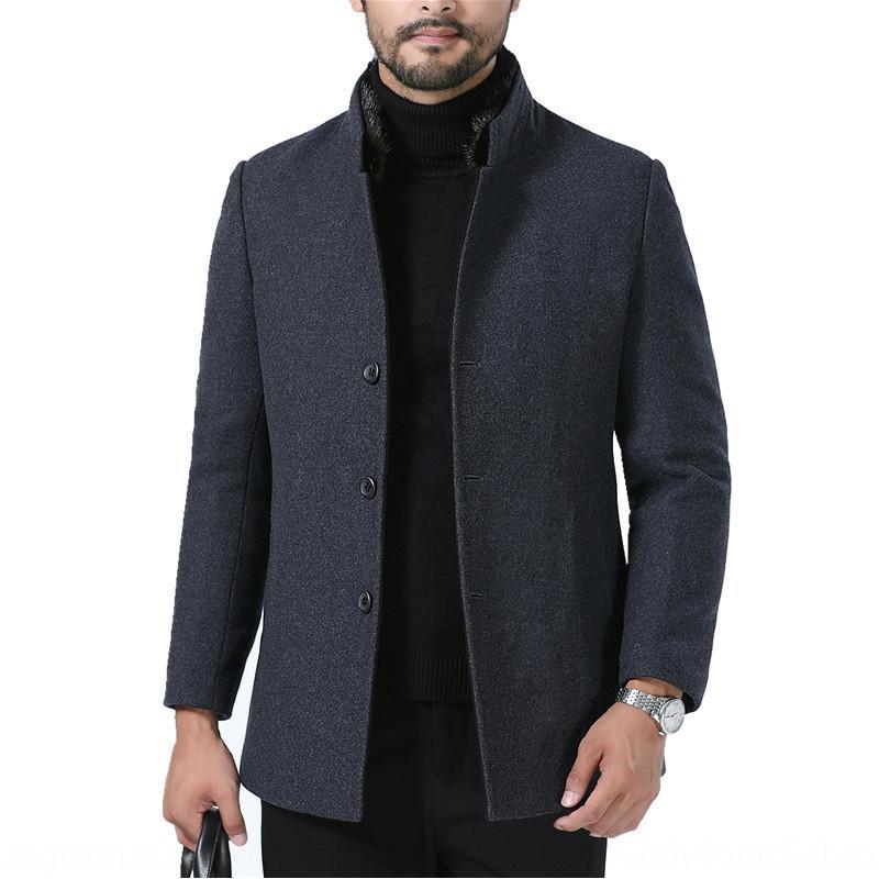 Les hommes de laine d'hiver se distinguent laine manteau court Top laine col courte doublure en fourrure d'âge moyen des hommes manteau épaissi haut