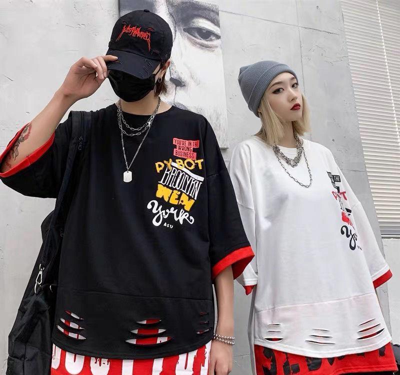 2020 Hip Hop Patchwork-T-Shirt Street Männer Kühlt Halbarm Shirts Schwarz Sommer-lose T-Shirt Art und Weise Japan Punk-T-Shirt Männlich