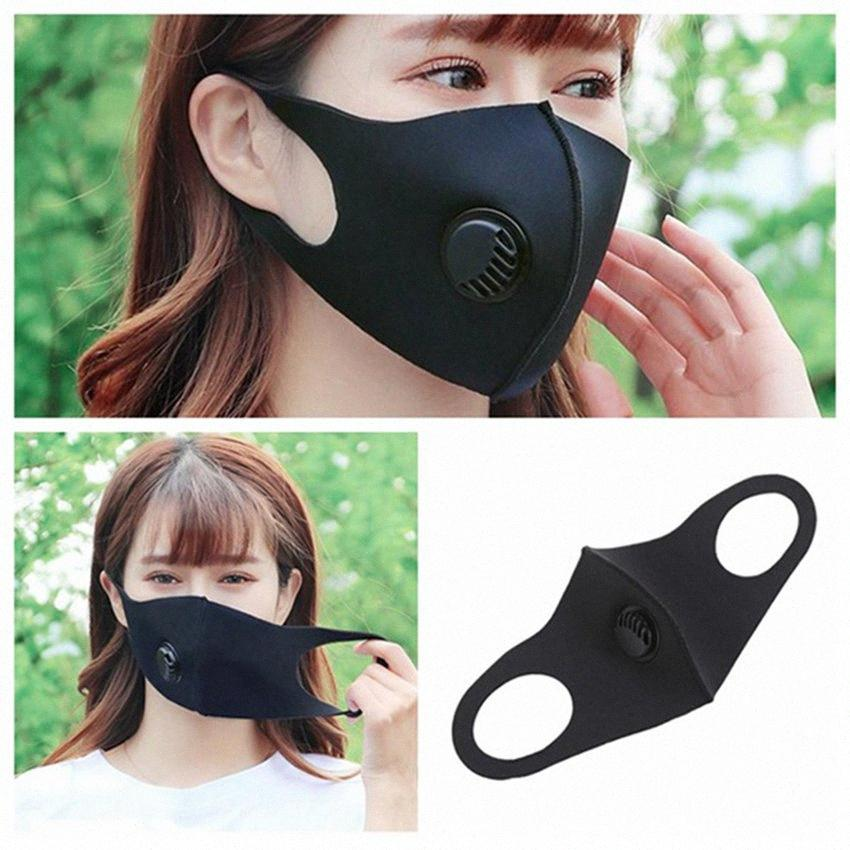 Máscara Moda Black Face Dustproof Haze à prova Respire Máscara da válvula de protecção homens e mulheres lavável reutilizável Ciclismo Máscaras IIA212 9Apg #