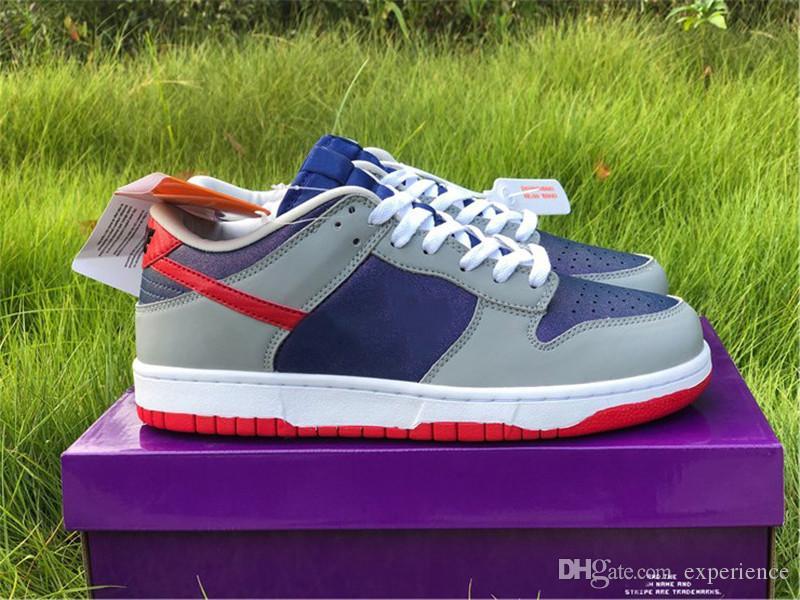 2020 YAYIN Otantik Dunk SB Düşük Samba Hiper Mavi Gümüş OG Japonya Erkek Bayan Koşu Ayakkabıları Spor Kaykay Sneakers Orijinal Kutusu ile