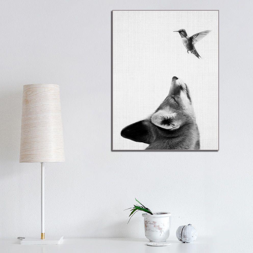 Póster de Bosque, cuadro sobre lienzo para Pared, zorro con pájaro, artística decoración, bosque, Animale, zorro, hogar, sala de estar