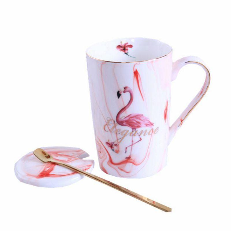 Nueva taza de cerámica del chapado en oro del flamenco de la leche del café tazas de té con una cuchara de maneta 55 centígrados termostato de la calefacción cojín de la taza de oficina