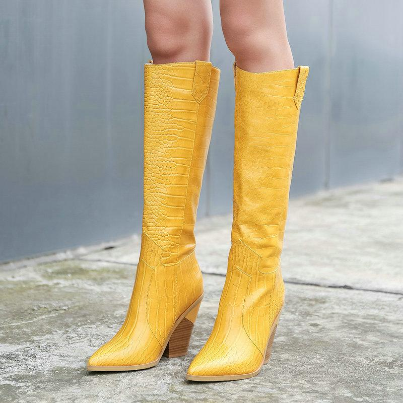 Ocidental Botas de moda do casamento Apontado Toe Mulheres Joelho Botas deslizamento no Outono Inverno Calçados Big Size 43 Yellow Preto Brown
