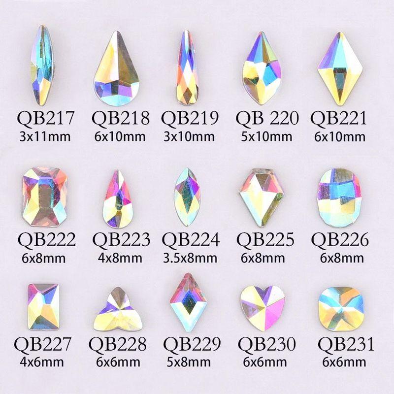 20pcs Kristaller Tırnak Elmas Taş Strass AB Cam Rhinestones için 3D Çiviler Sanat Dekorasyon Malzemeleri Mücevher QB217-246A