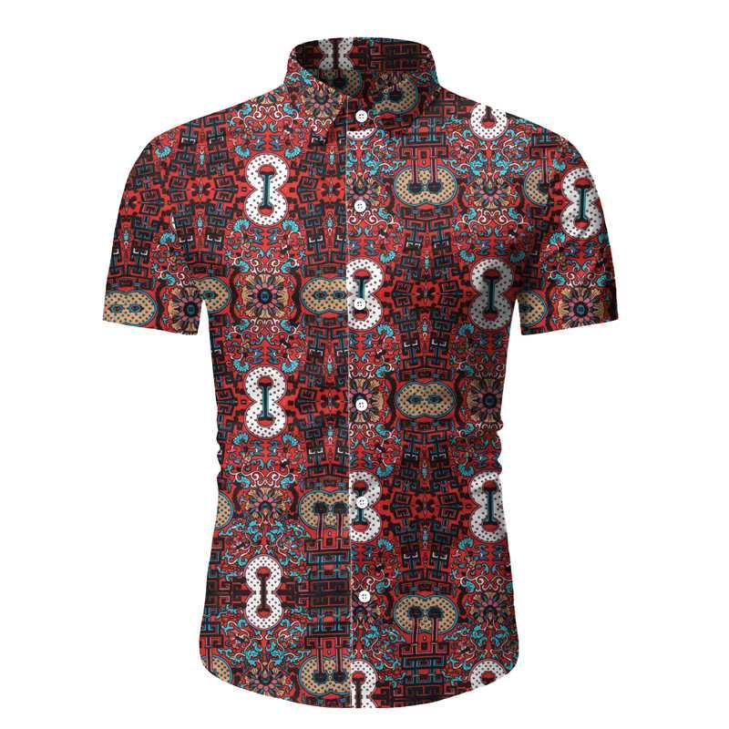 Camicie casual da uomo 2021 Men Stampa Camicia Stile Estate Stile Estate Spiaggia floreale Hawaiian Manica Corta Hawaii Abbigliamento per vacanze