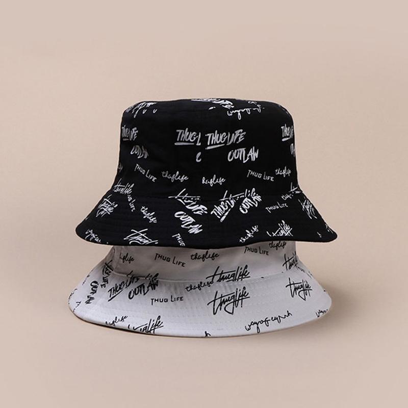 رسالة موضة قبعة دلو للمرأة الرجال ضعف الجانب القطن شمس الصيف قناع بنما قبعة أسود أبيض زوجين الهيب هوب قبعة دلو T200826