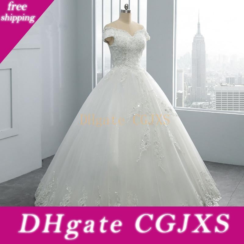 Дубай Тюль бальное платье свадебное платье 2020 с плеча свадебное платье из бисера Кружева Вышивка платье невесты