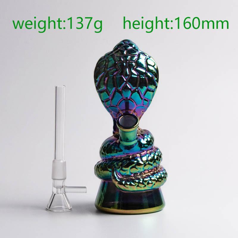 예쁜 다운 레인 보우 컬러 유리 코브라 봉 파이렉스 두꺼운 유리 봉 필터 흡연 5.2 인치 핸들 볼 물 파이프 줄기