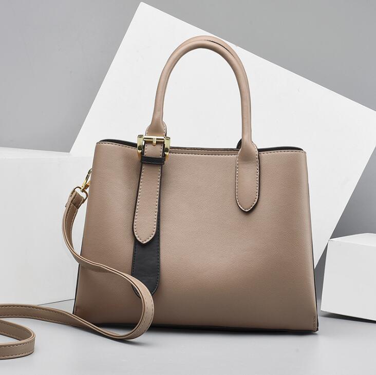 Frauen-Handtaschen-Qualitäts-Leder Plain Lady Schultertasche Temperament Handtasche