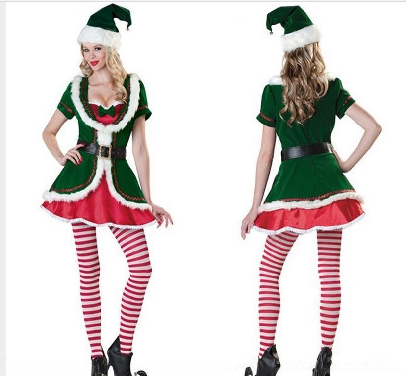 Rtq2Q IrYdo tentazione nuovo elfo uniforme di Natale 2020 di notte vestiti costume da notte abbigliamento elfo nuova uniforme di Natale verde tentazione verde 2