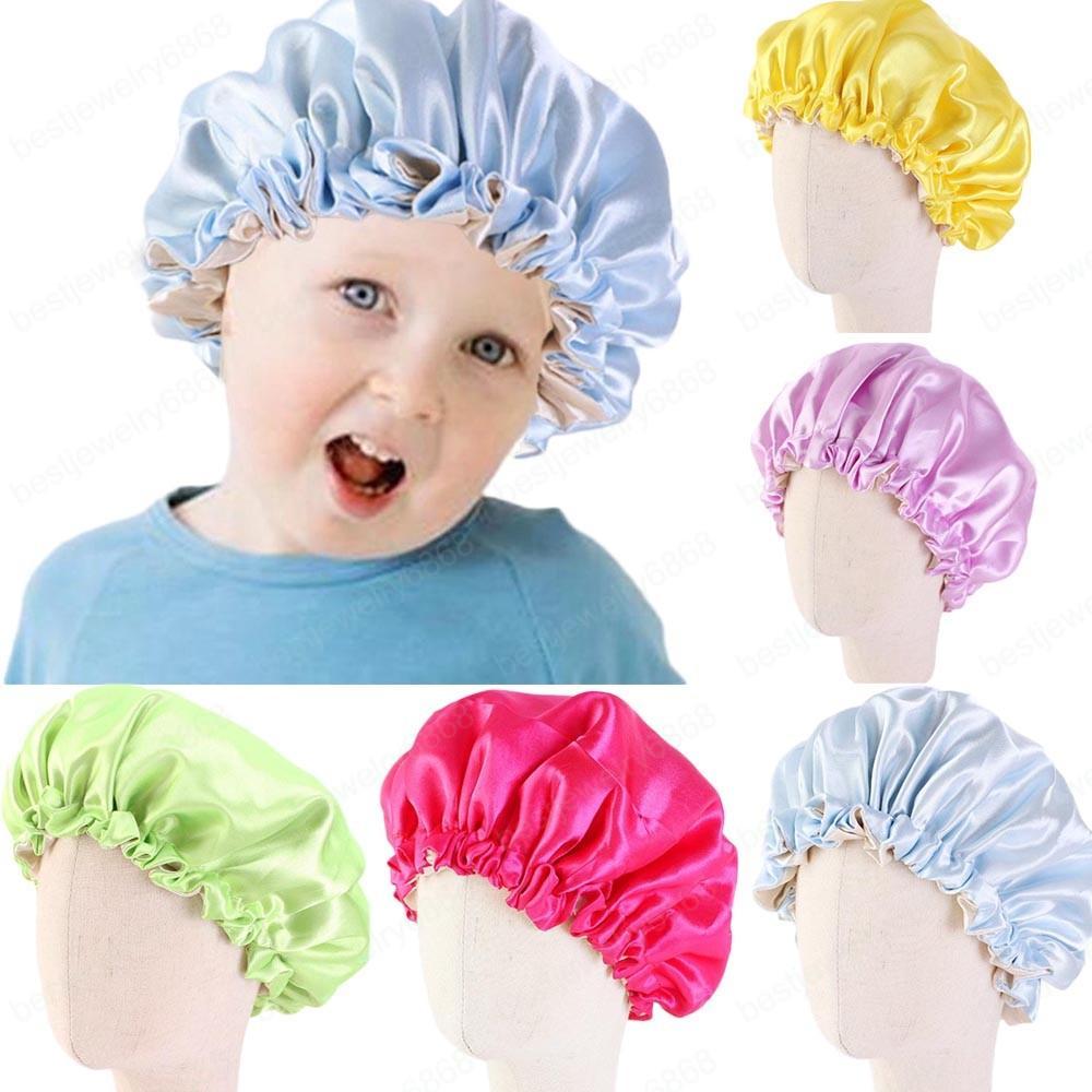 Adjustable Kids Girls Sleep Cap Satin Elastic Turban Bonnet Hair Care Children Solid Color Nightcap Sleeping Hat Headawear New