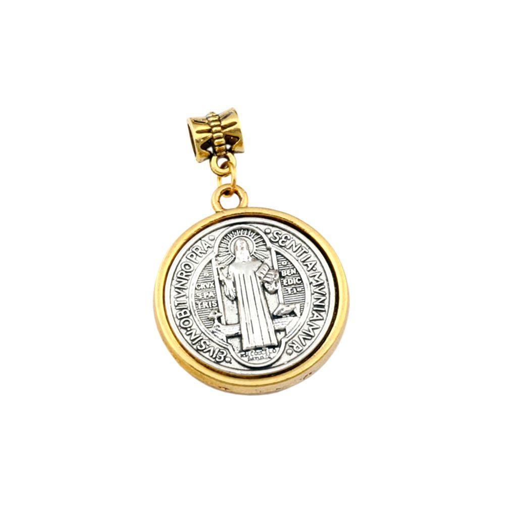 15pcs / lotti S. Benedetto Croce Medaglia lega di religione collana ciondola branelli di fascino di fascino misura i monili DIY 27.9x43mm A-557a1