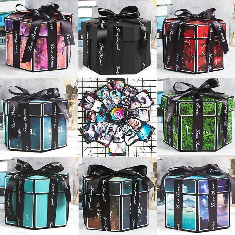 Explosion Box Hexagon-Form-Handmade DIY Geschenk-Kasten Foto Creative Scrapbooking Geburtstag Valentinstag Jahrestag Geschenk CRJK #