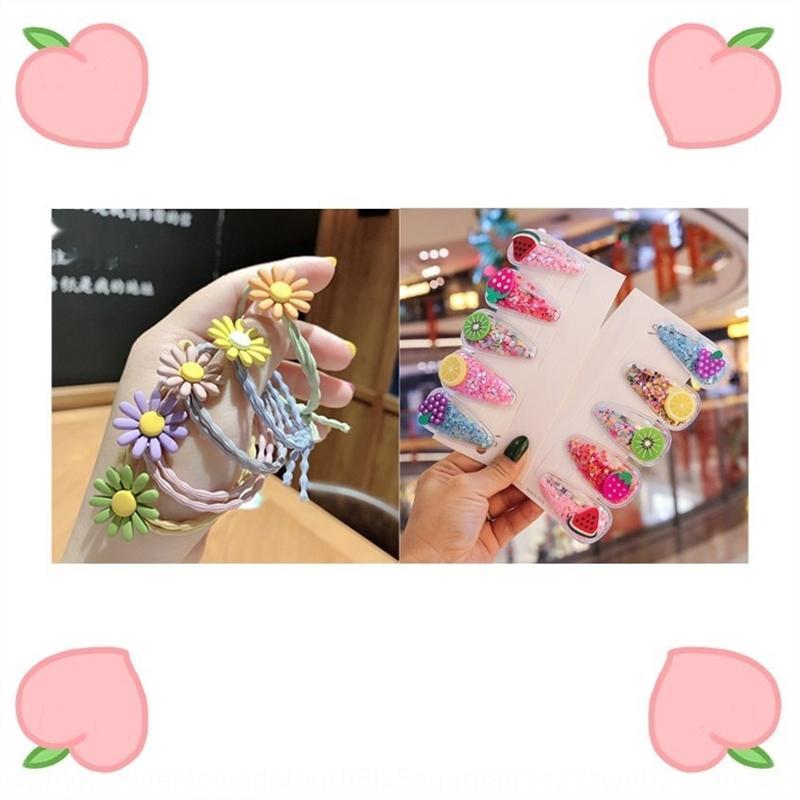 Pl02G Детское клип блестки Quicksand фрукты контактный ребенок леденец веревка фрукты волосы ropeBB клип головной убор ромашка волос веревки радуги леденец hairp