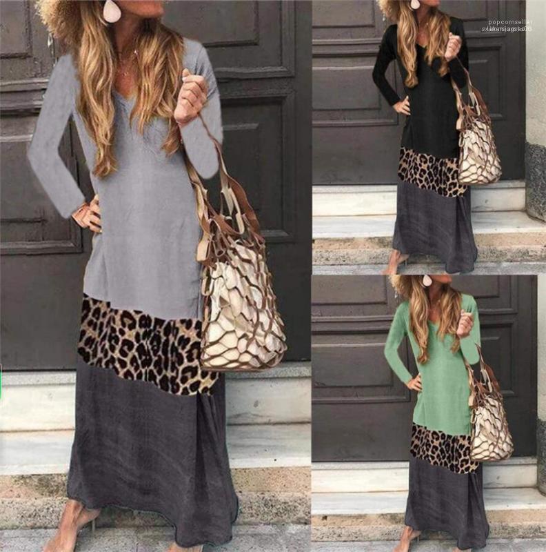 Leopard contraste cor do vestido das senhoras do outono Painéis V Neck Vestidos Moda A linha média cintura Clothes Womens
