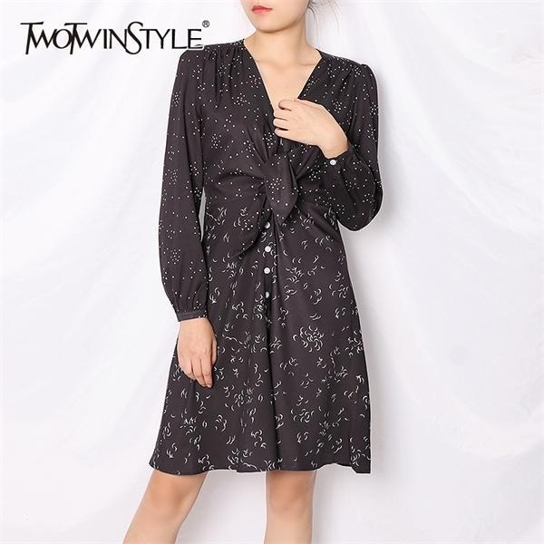 Twotwinstyle impreso elegante mujer vestido con cuello en v manga larga alta cintura hueco fuera vistes midi mujer 2020 otoño moda nuevo 0924