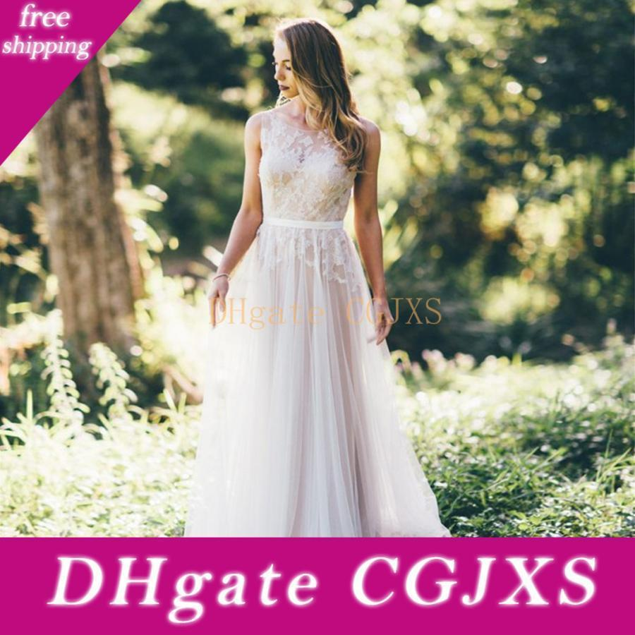 New Country Robes de Mariée avec dentelle Applique encolure dégagée mariée robes longues Chine Tulle Robes ligne pour la mariée