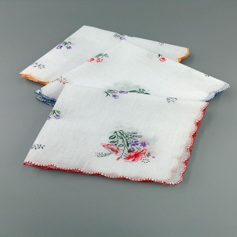 12-Stück Spitze Baumwollfrauen Baumwolle sichelRandSpitzeFrauen Kindertaschentuch schweißabsorbierend atmungsTaschenTuch