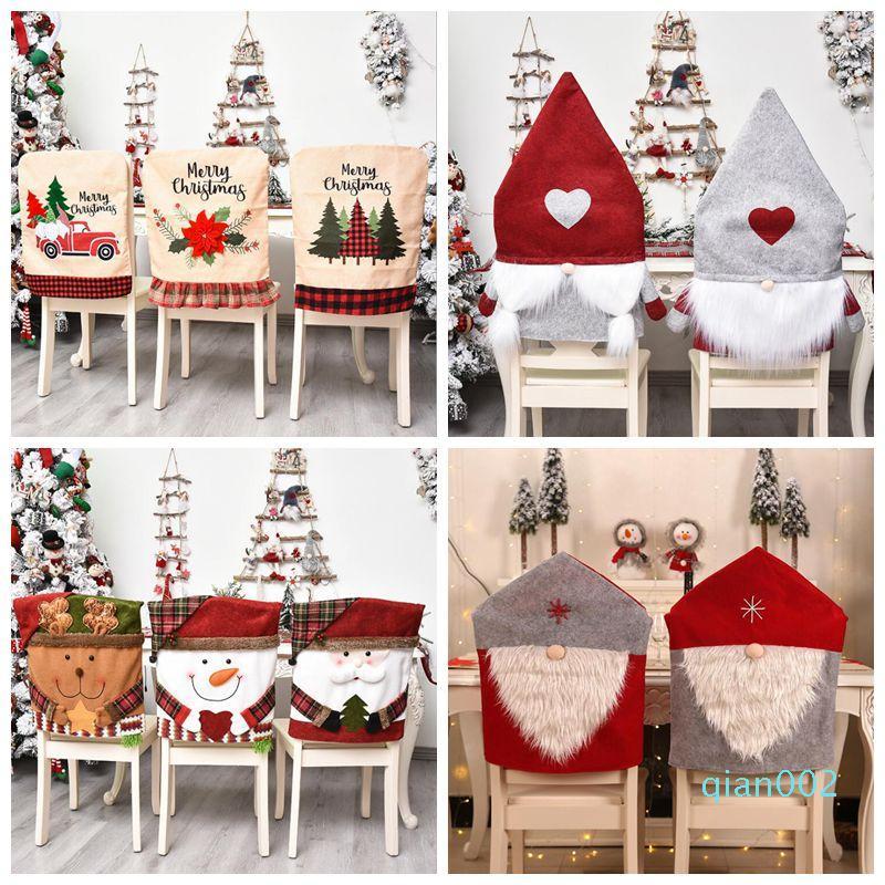 Natale sedia Covers pasti copertura della sedia Slipcovers per Natale banchetto di festa coperta di Natale della decorazione del partito Forniture DHF570