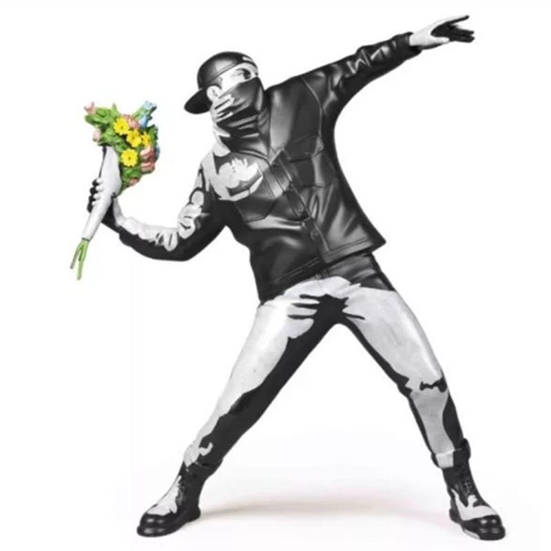 Arte Moderno Banksy Flower Bombardero de hormigón versión del arte de la calle Inglaterra Estatua de la escultura Bombardero Polystone de arte de figura de colección