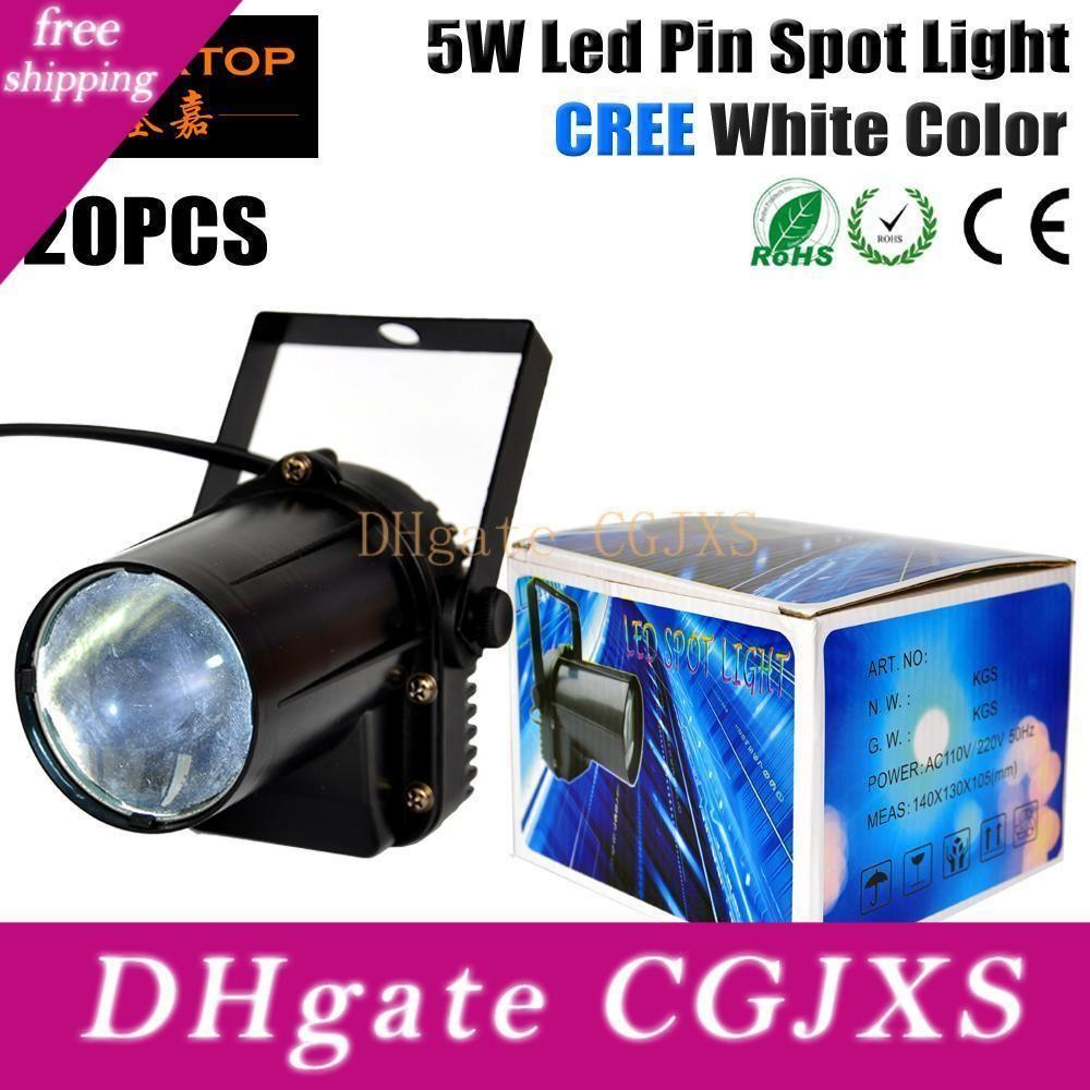 Freeshipping 20pcs / Lot 5W LED de color blanco Pin del punto de luz 110v -240V Led Lámpara Luz para alta bola del disco de cristal de energía Dj Beam