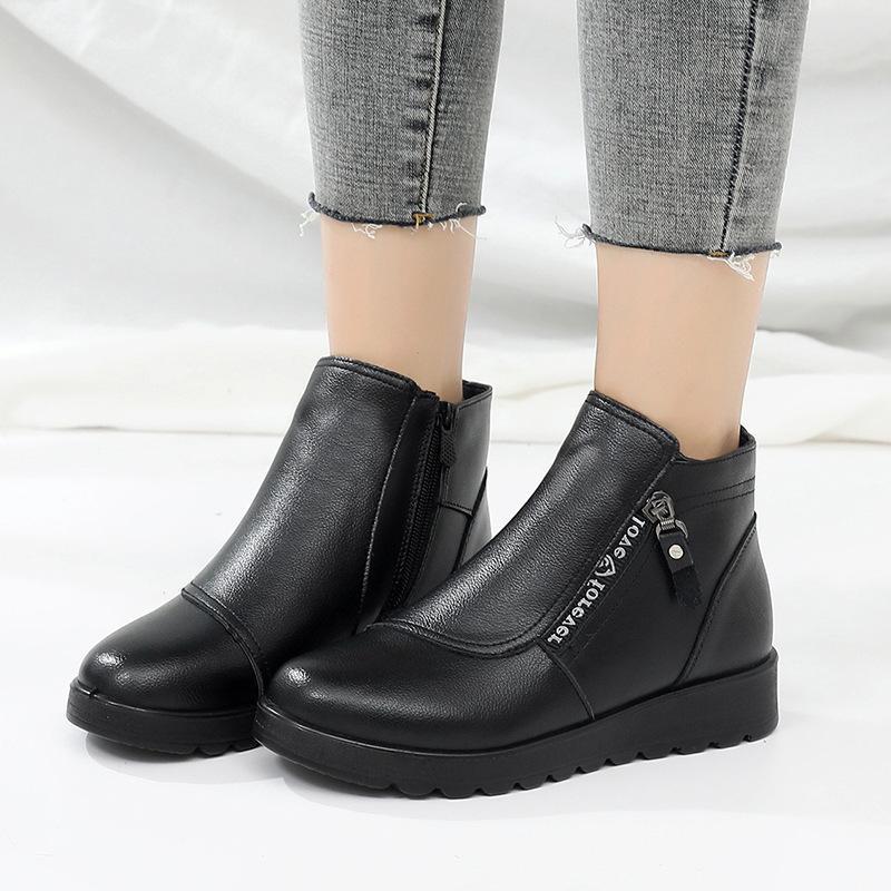 Inverno Autunno Genuine Leather piatto Stivaletti per le donne Warm Boots chiusura lampo del lato della mucca molle comoda pelle Botas Donne