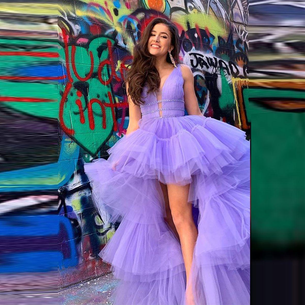 Abiti Puffy Lavanda massimo minimo di promenade Liste Tiered Livelli Tulle ragazze Pageant abiti Vestiti posteriore sexy abito da sera a buon mercato