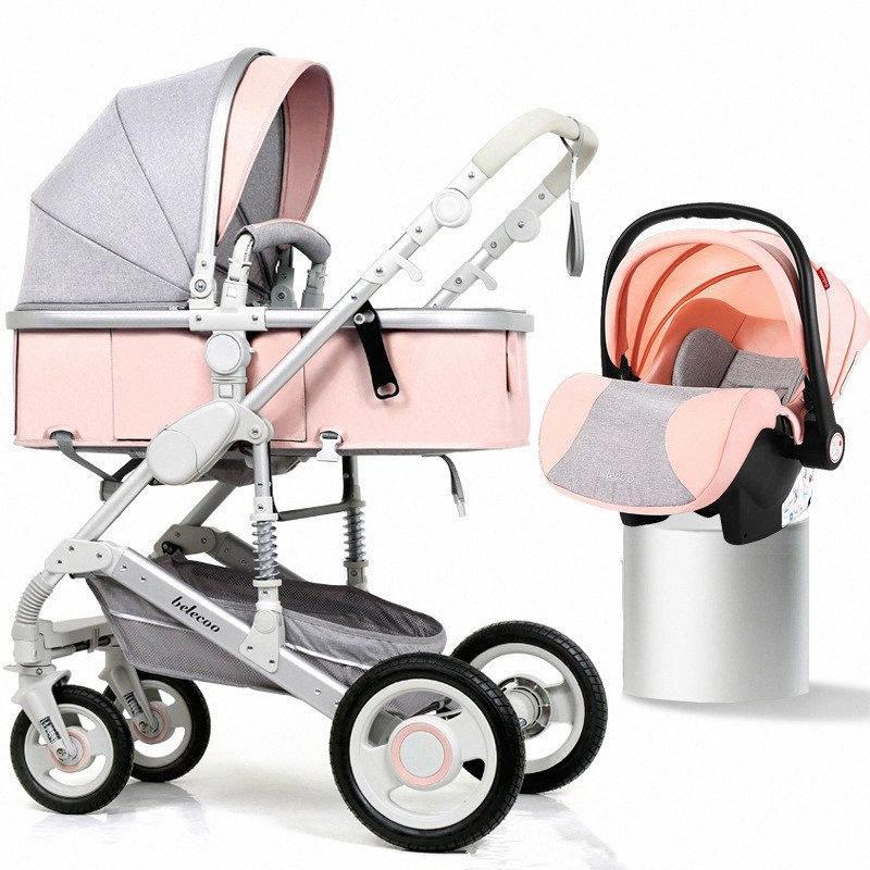 Детская коляска 3 в 1 с сиденья автомобиля Портативный Реверсивный High Landscape Детская коляска Горячая мама Розовый Путешествия Pram MUYm #