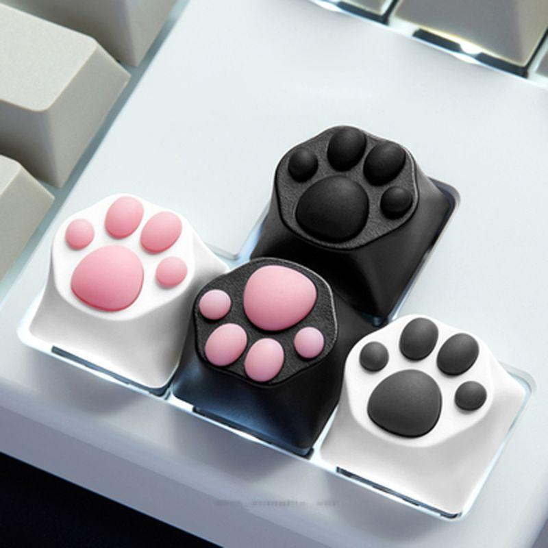 ABS Silicone Cartoon Cute Cat Paws Keyboard Key Caps for Cherry MX Switches