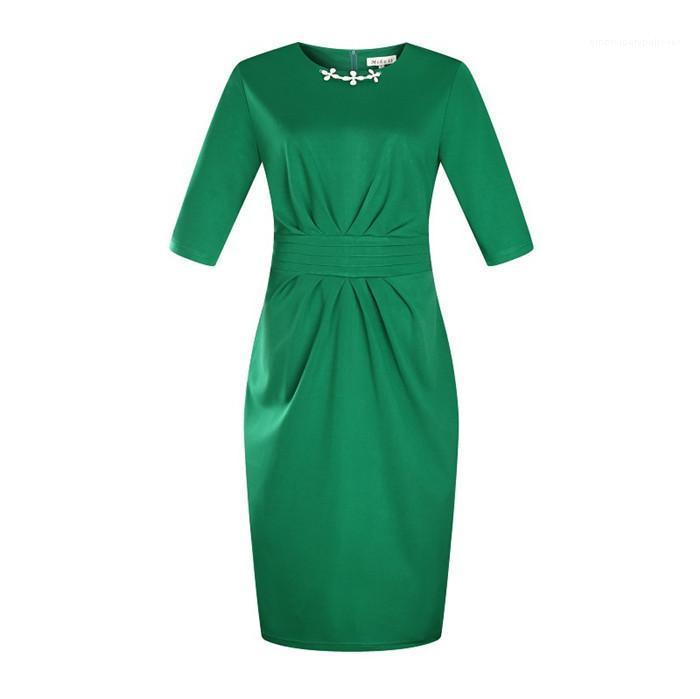Plus Size Dress Peplum Casual Pencil Skirt With Zipper Multicolor Optional Got Up Figure Dress Summer Crew Neck