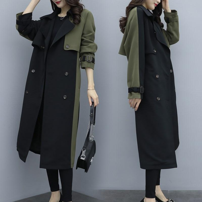 2020 Spring Autumn British Style European Women's Long Vintage Patchwork Trench Coat Armygreen Female Windbreaker Outerwear M176