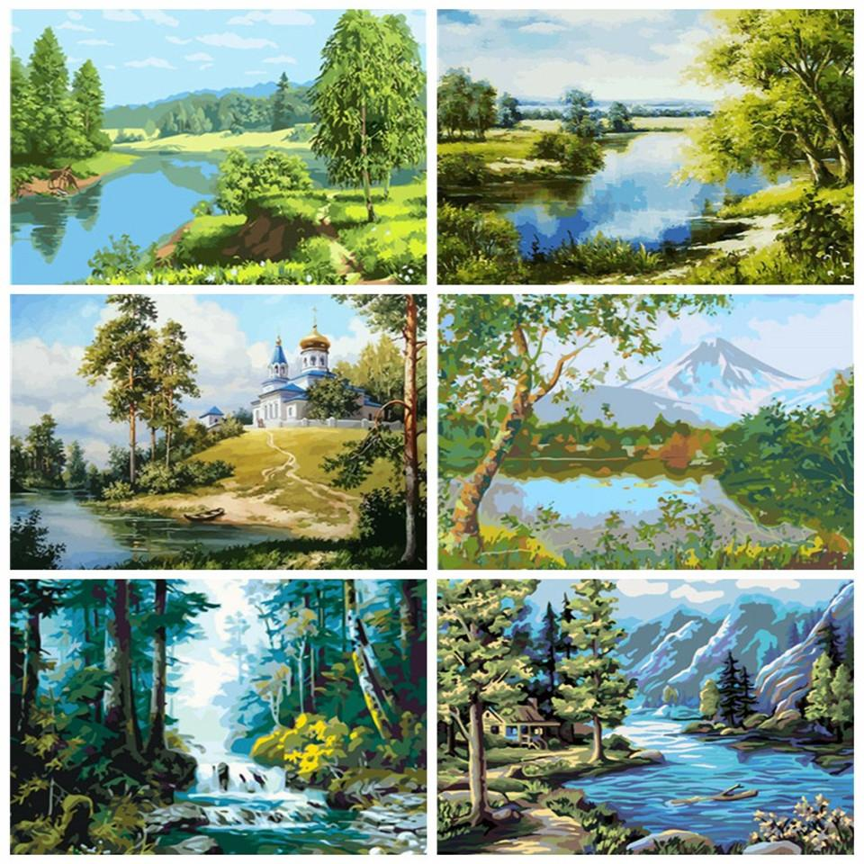 wall art DIY Unframe Oil Painting By Numbers Landscape 50X40cm Decoration Coloring By Numbers Tree Acrylic Paint Handpainted Gift