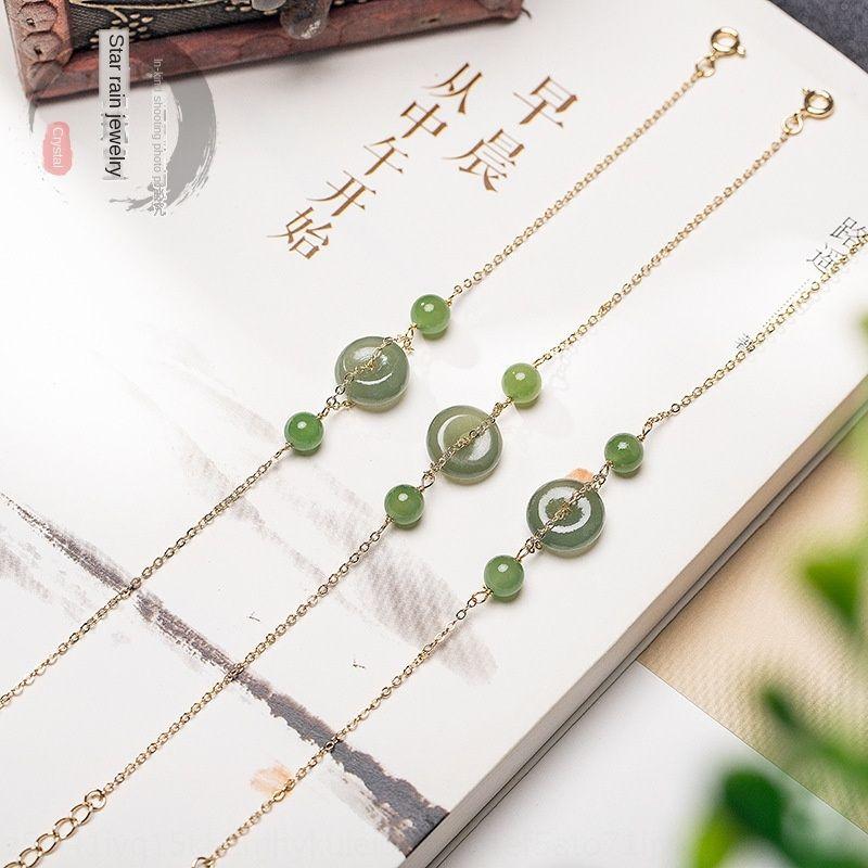 Xingyu azul Hetian natural e Ping Anbracelet ouro 14K jóias das mulheres criativo nova Branco Pulseira Jade Jóias produto Jade Branco