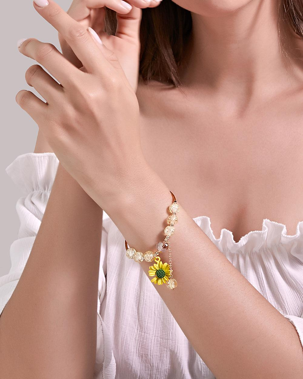 Kadınlar Kızlar Charm Papatya Kolye Bileklik Çiçek Bileklik Takı Kız Hediyesi için Ins Çiçek Boncuklu Bilezikler
