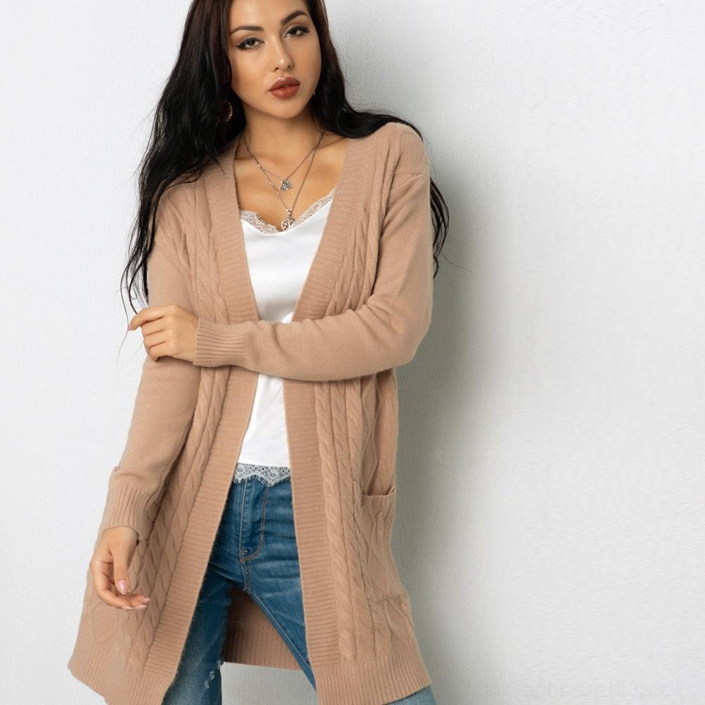 5dxMd карман Новой осень кардиган ленивого стиль пальто свитера nM7WH белье шаблон женщины средней длиной свободная трикотажный свитер пальто 2020