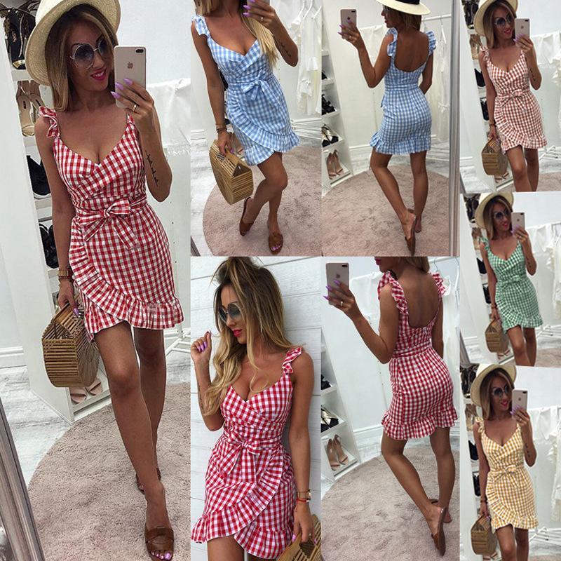New arrivals 2020 summer fashion lattice lace-up halter zipper ruffled women plaid dress womens formal clothes plus size woman dresses