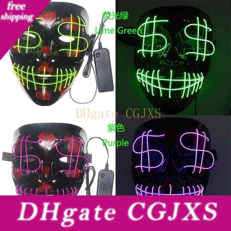 Dolar Grimace Kanlı El Hattı Parti Club Bar Dj Işık Tam Kapak Led Maske Öncü Cadılar Bayramı Gece Noel