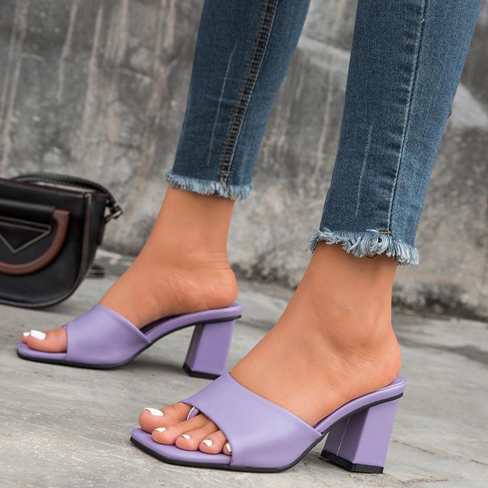 Solid Color Colulsy Med Scool Sandals квадратный клип Toe однополосный женские одежды обувь летом повседневные скольжения обувь
