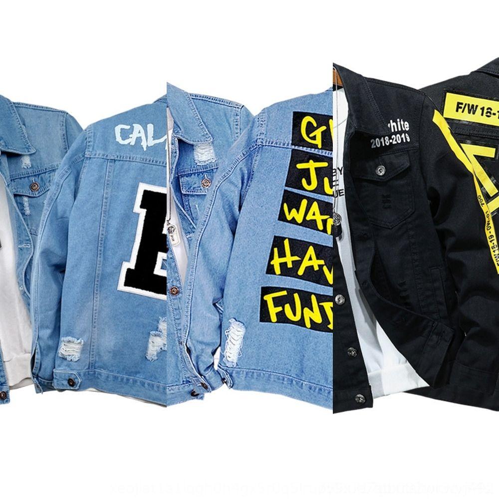 New veste insigne bleu clair veste denim creux pour de badge en forme hommes à la mode hommes denim 7RcPP