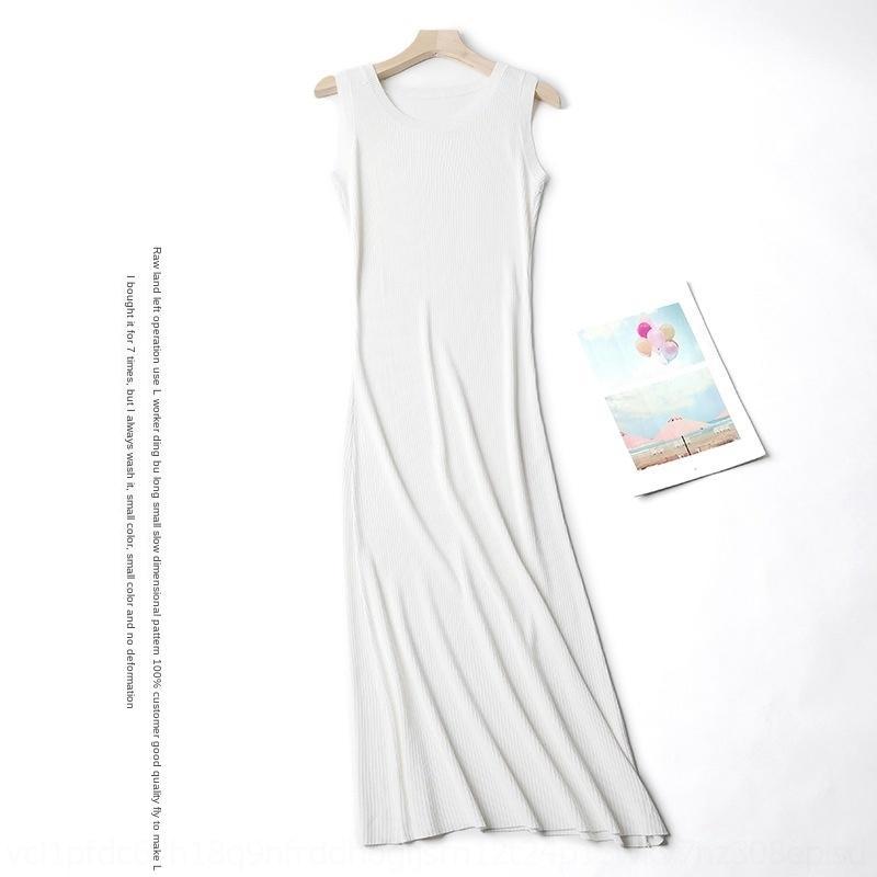 eZMUi 8JSqi yeni yaz yuvarlak örme sapan 2020 yaz jartiyer kolsuz zayıflama kadın boyun uzun buz ipek yelek elbise elbise