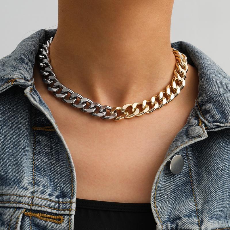 Gótico Cadena Cubana de hombres fresco de la calle del collar de Hip Hop Collar Gargantilla Declaración simple para las mujeres amantes de la joyería collar