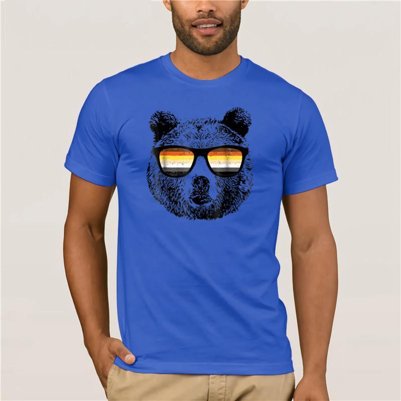 2020 Hombres camiseta gay del oso con las gafas de moda para hombre de manga corta camiseta