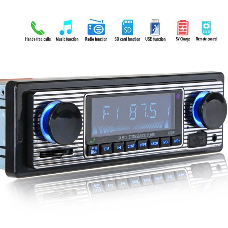 Car Audio Vintage Bluetooth FM Radio MP3 Player Stereo USB AUX Classic OLED Color Screen Electronic
