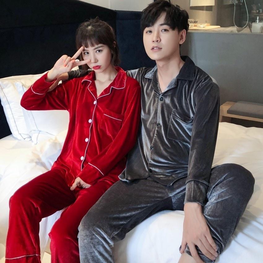 ANHhi eW8og coreano paio di velluto oro matrimonio di grandi dimensioni dimensioni autunno e tuta casa inverno più grasso Maglia a manica lunga coreana nuovi pigiami pigiama
