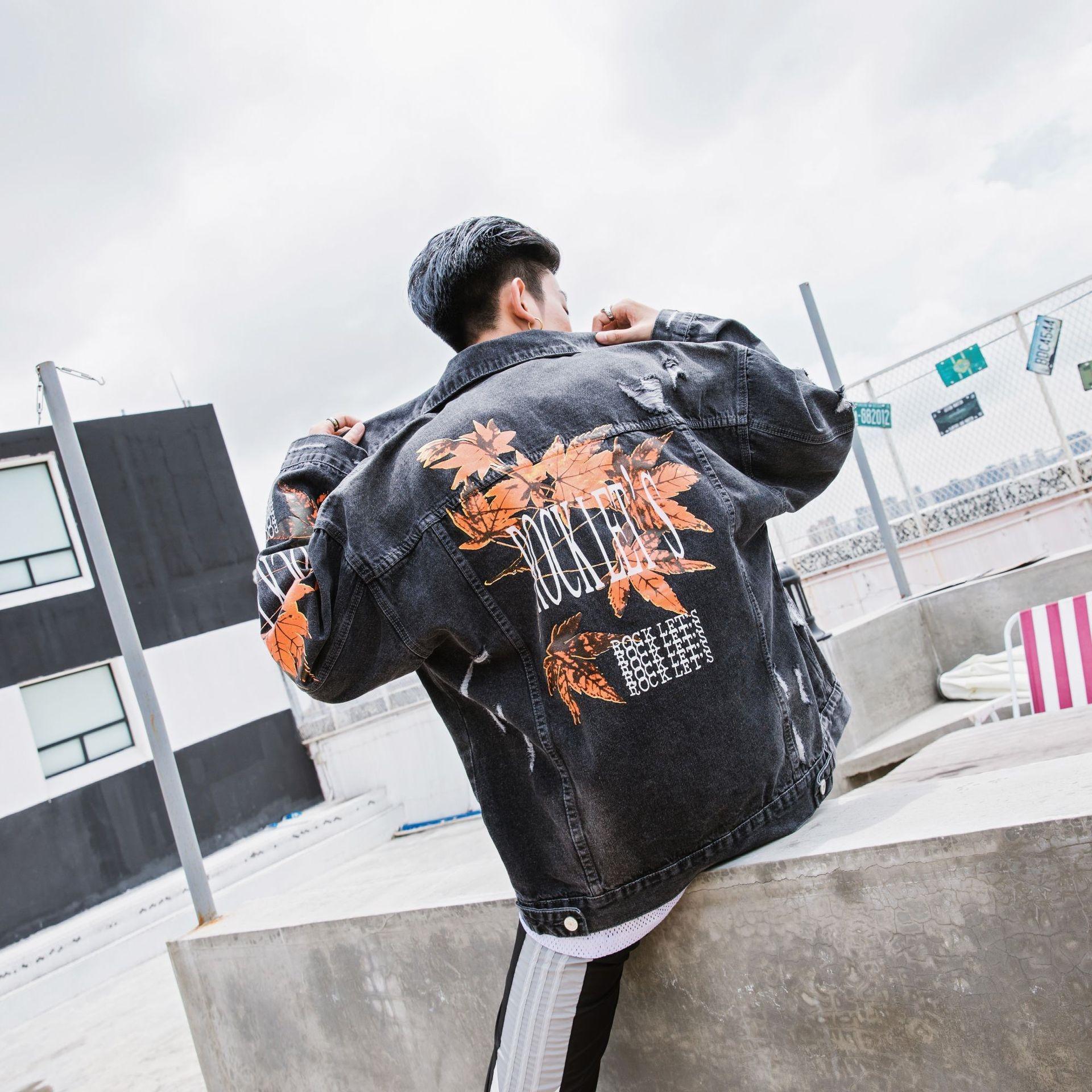 oTFsk осенью новый мужской хмель высокого пальто хип модный кленовый лист напечатанный куртка джинсовая куртка улица