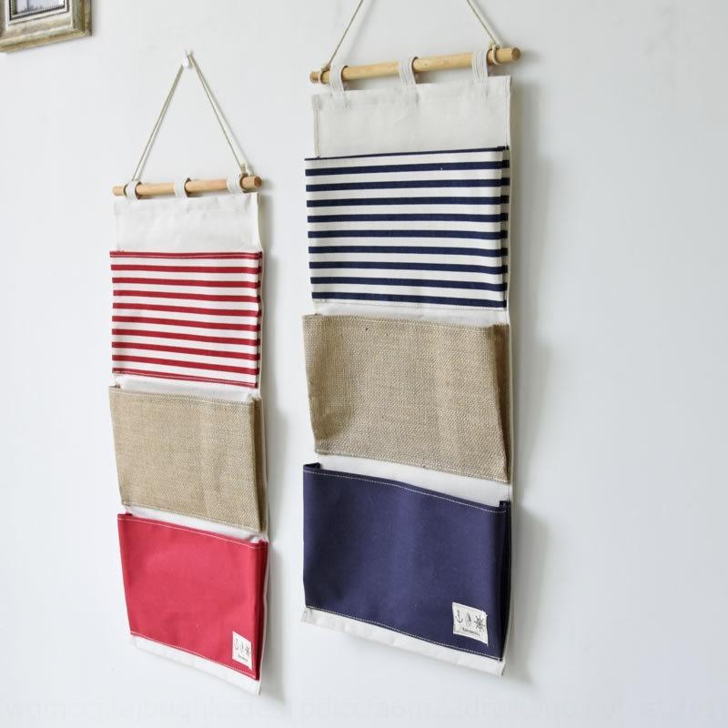 I. ZAKKA çok fonksiyonlu düz çizgili birleştirme duvara asılı saklama torbası 3 torba çeşitli eşyalar depolama asılı torba / duvar torba 0631